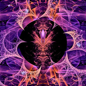 Fractal image of a shiny, transparent, purple, and gold fabric entangled in cobwebs. In the calm center is a candlestick holding a single amethyst crystal.