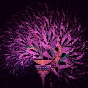Fractal image of an arrangement of purple petals spilling from a golden bowl on a colorful pedestal. Fractal art by Jodi DiLiberto.