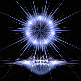 Fractal image of a bright silver bowl with a bright silver abstract star hovering over it. Fractal art by Jodi DiLiberto