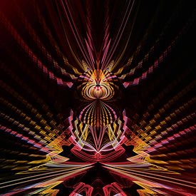A zig zagging fractal in red yellow brown and pink with jagged edges. Fractal Art by Jodi DiLiberto