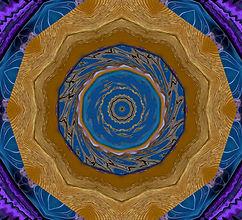 Bohemian Kaleidoscope, digital image of a blue purple and gold kaleidoscope,digital art by Jodi DiLiberto