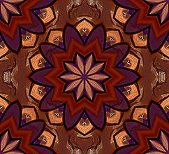 image of a layered flower mandala in russet and purple, digital image by Jodi DiLiberto