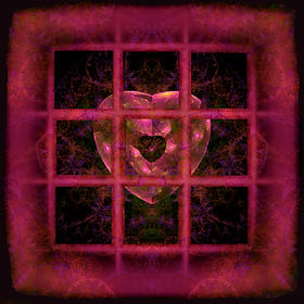 Fractal image of a pink heart outside a pink window with nine panes. Fractal image by Jodi DiLiberto