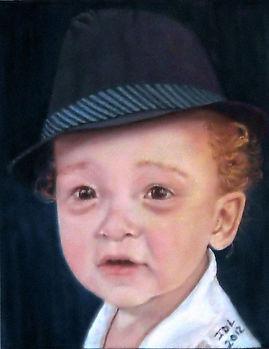 Portrait of a sleepy boy in a hat, Portrait of Bode, Portrait by Jodi DiLiberto