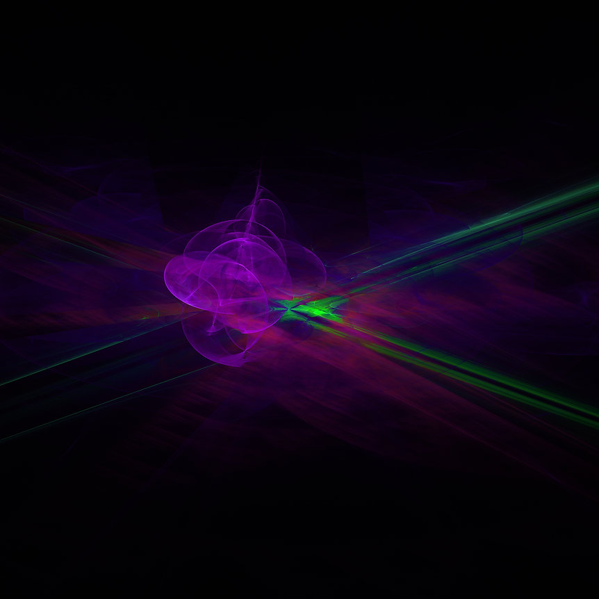 An abstract fractal image of a green spaceship entering a purple realm in space. Fractal Art by Jodi DiLiberto.