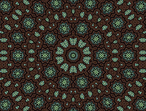 Digital image of blue and green sunbursts in symmetrical, concentric circles on a brown background, digital image by Jodi DiLiberto