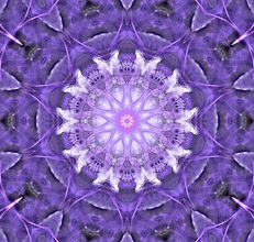 Digital image of a purple mandala in a circular pattern with a web of threads,digital image by Jodi DiLiberto