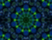 Image of a brilliant green and royal blue mandala in a circular pattern by Jodi DiLiberto