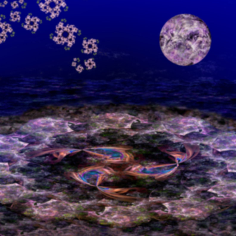 Fractal blossoms and a trio of fish swim in a pond aglow in the light of a purple moon.