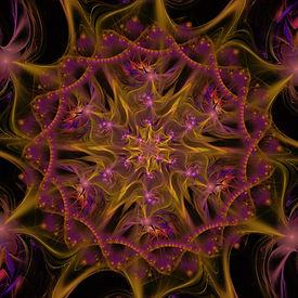 fractal image of beads and flowers in purple and yellowish green. Fractal art by Jodi DiLiberto