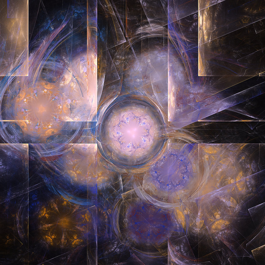 An abstract fractal of geometric shapes in pastel pink purple and gold, fractal art by Jodi DiLiberto