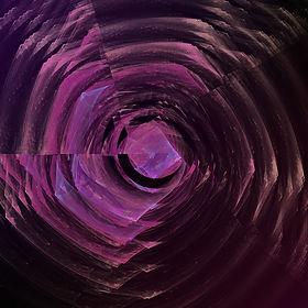 Fractal image of a broken, purple disc. Fractal art by Jodi DiLiberto