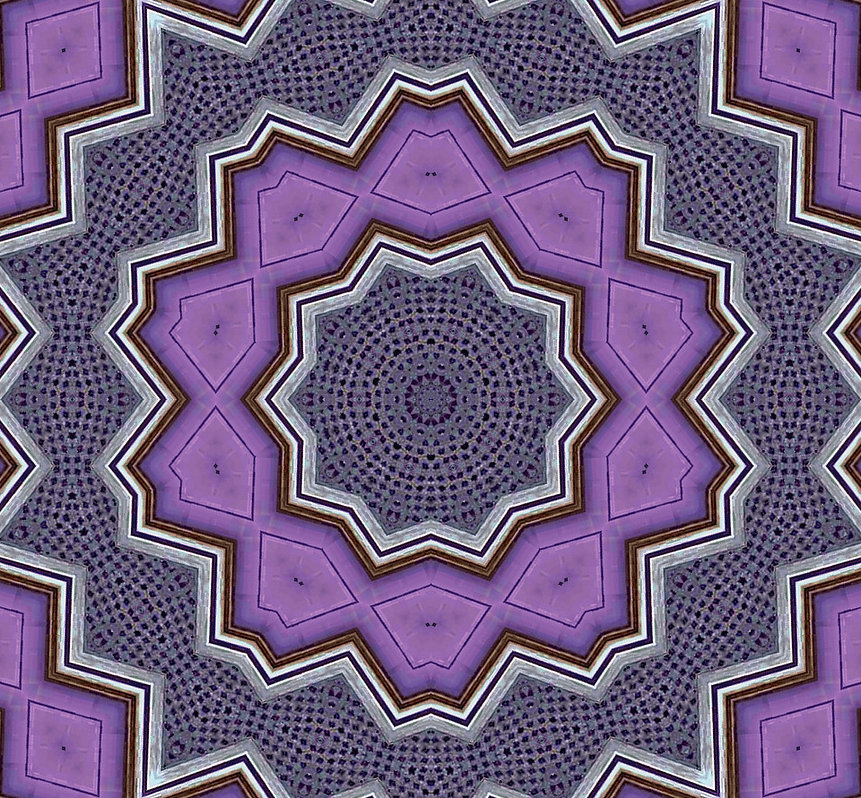 image of purple geometric kaleidoscope with silver edges, image by Jodi DiLiberto