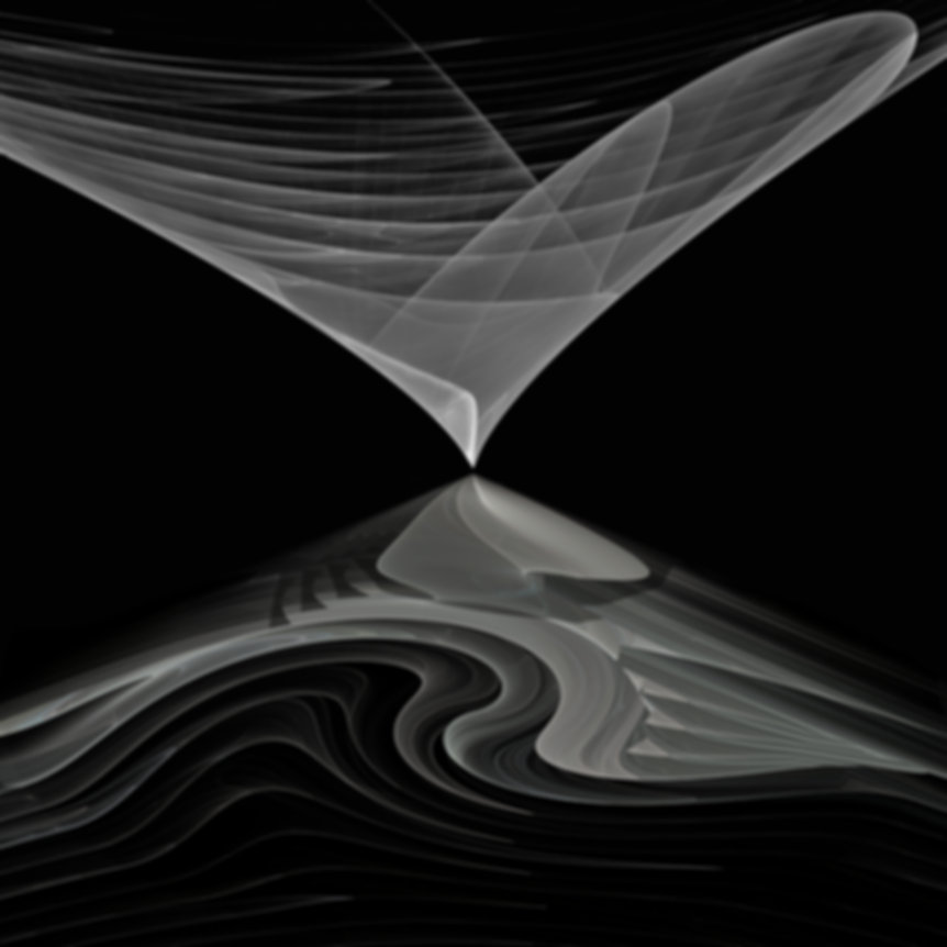 Fractal depicting two abstract, triangular shapes with one descending over the other in a kiss. Fractal art by Jodi DiLiberto