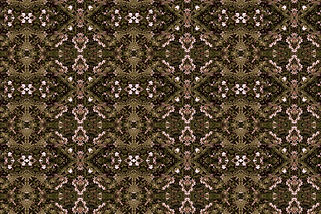 Digital image of abundant foliage and flower petals in a linear pattern,