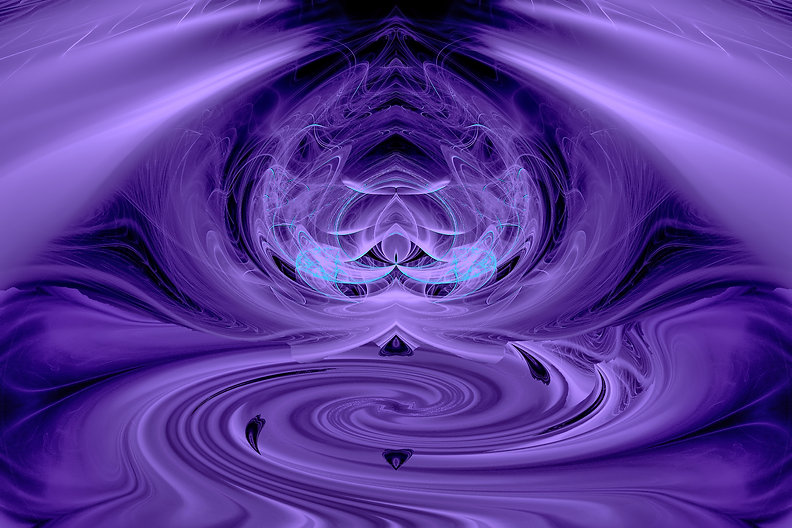 Fractal image of swirling purple and an abstract figure meditating. Fractal Art by Jodi DiLiberto
