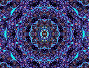 Digital image of a kaleidoscope of concentric circles in purple and turquoise, Digital Art by Jodi DiLiberto