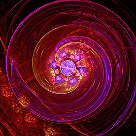 A fractal patterned spiral in red pink purple and gold by Jodi DiLiberto.