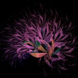 Fractal image of an arrangement of purple foliage spilling from a golden bowl. Fractal art by Jodi DiLiberto.