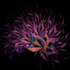 Fractal image of an arrangement of purple foliage spilling from a golden bowl. Fractal art by Jodi DiLiberto.
