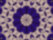 Digital image in royal blue of abstract string instruments encircling a central lotus. Digital image by Jodi DiLiberto