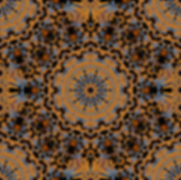 Digital image of a mandala in a chaotic circular pattern of blue, gold, and brown, image by Jodi DiLiberto