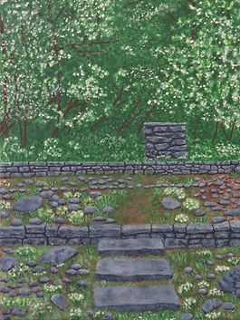 Painting of a garden,landscape,painting of summer,painting of a rock wall,painting of woods,painting by Jodi DiLiberto
