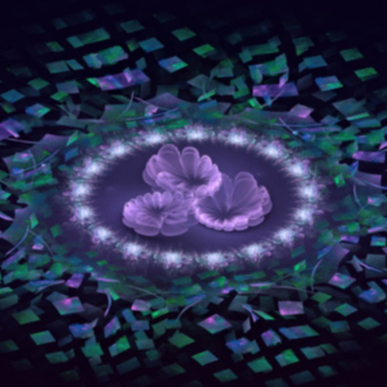 Fractal image of three purple flowers floating in a small pool which is surrounded by green and purple geometric shapes.