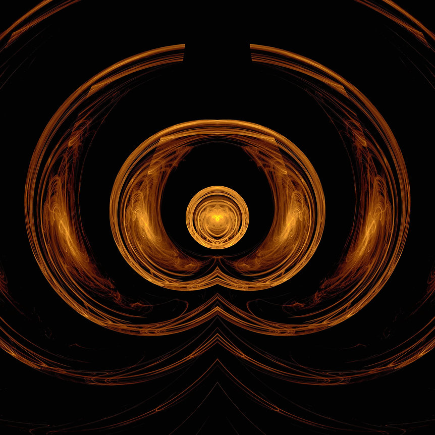 Abstract Fractal image of the ancient goddess in copper and yellow colors. Fractal Art by Jodi DiLiberto.