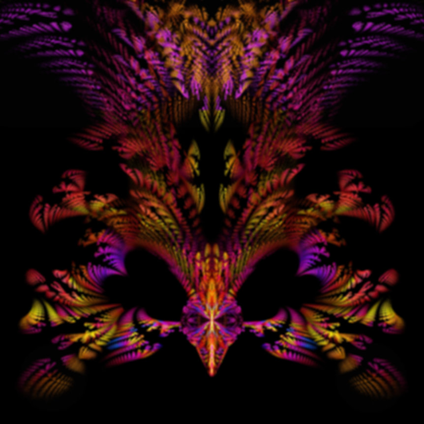 Fractal image of a masquerade mask in purple,orange,red,yellow,and pink. Fractal art by Jodi DiLiberto.