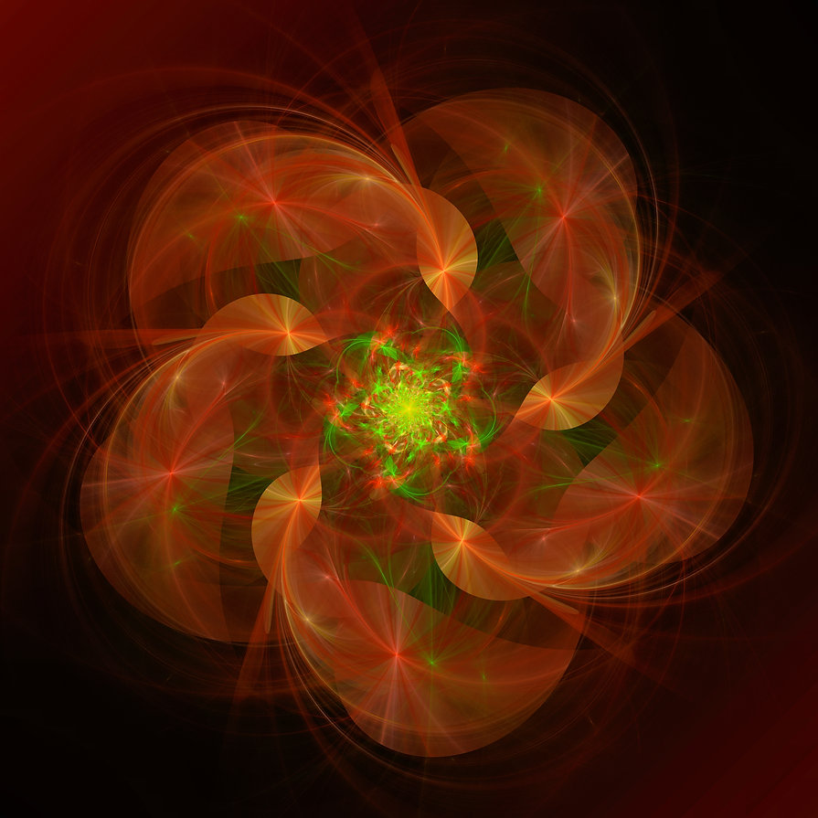 Fractal image of streaks of light emitting from a whirligig in shades of red orange green and yellow. Fractal art by Jodi DiLiberto.