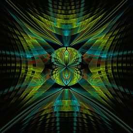 A fractal image of yellow and blue energy radiating from a central orb. Fractal art by Jodi DiLiberto.