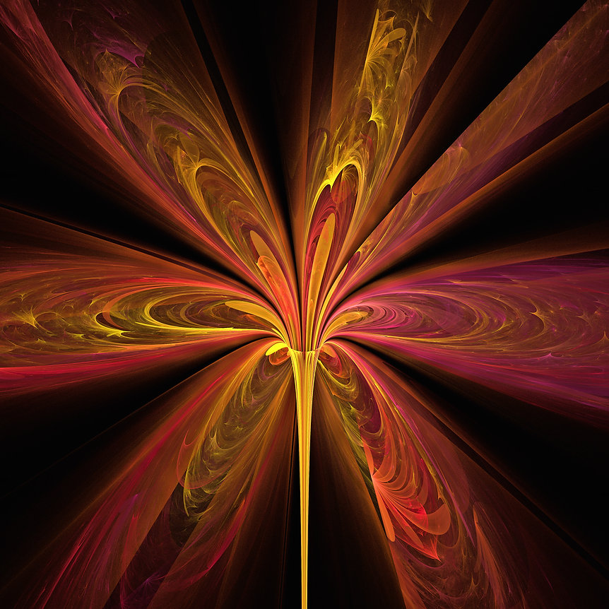 A fractal image of a lily with vibrant petals of yellow and pink. Fractal Art by Jodi DiLiberto