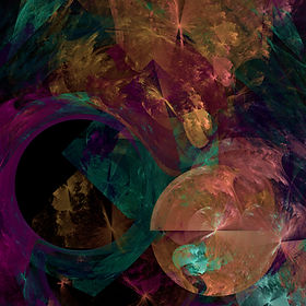 Fractal image of a chaotic scene in purple gold pink and turquoise with an orb and negative space. Fractal art by Jodi DiLiberto.