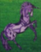 Painting of a Unicorn,painting of a purple unicorn,purple and green painting,magical painting,painting by Jodi DiLiberto