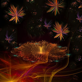 A fractal image of a golden flower burning in a red hot fire while starry faeries dance above in a night sky. Fractal Art by Jodi DiLiberto