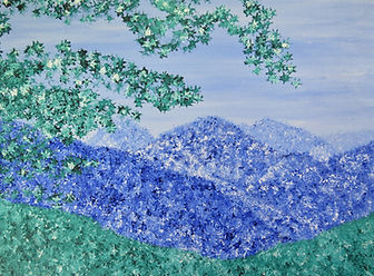Landscape,painting of mountains,painting of blue ridge mountains,impressionistic painting of blue ridge mountains, painting of shenandoah valley, painting by Jodi DiLiberto