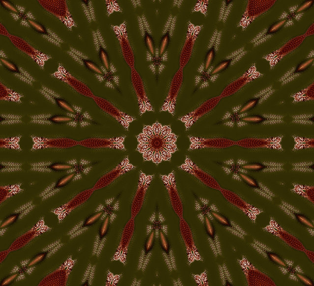 Digital art by Jodi DiLiberto, image of a mandala in a lotus in olive green and burnt orange