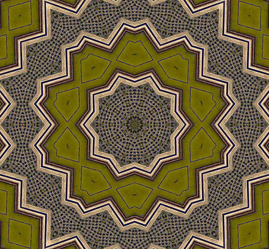image of olive green kaleidoscope with golden frames,image by Jodi DiLiberto