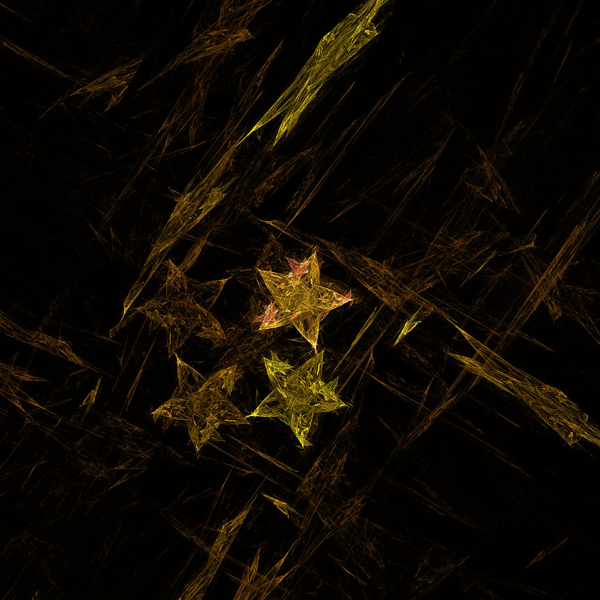 Fractal abstract image of four stars on a background of irregular,broken,woven lines in green, gold, and orange. Fractal Art by Jodi DiLiberto