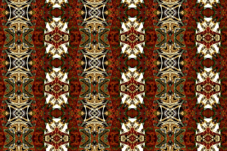 digital image of a geometric pattern of red chains with spiky thorns, digital image by Jodi DiLiberto