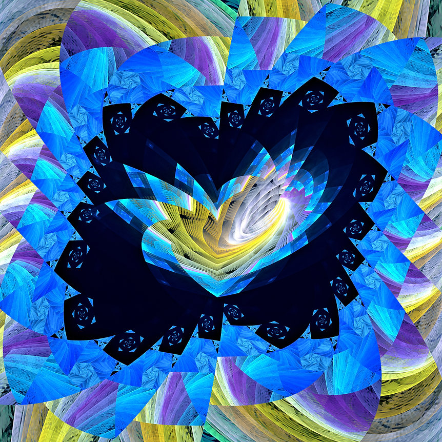 An abstract fractal image in bright blue and yellow of an excited heart framed within an aura of geometric angles. Fractal Art by Jodi DiLiberto