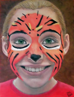 Portrait of a girl with tiger makeup, Portrait of Kat, Portrait by Jodi DiLiberto
