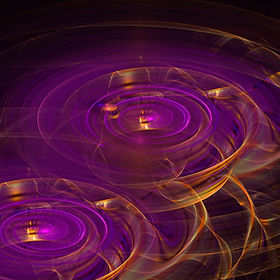 Fractal image of magic steaming in purple from two golden cauldrons. Fractal Art by Jodi DiLiberto