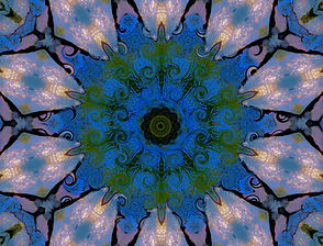 Digital image of a bright blue and pink kaleidoscope with a swirling center. Digital Art by Jodi DiLiberto