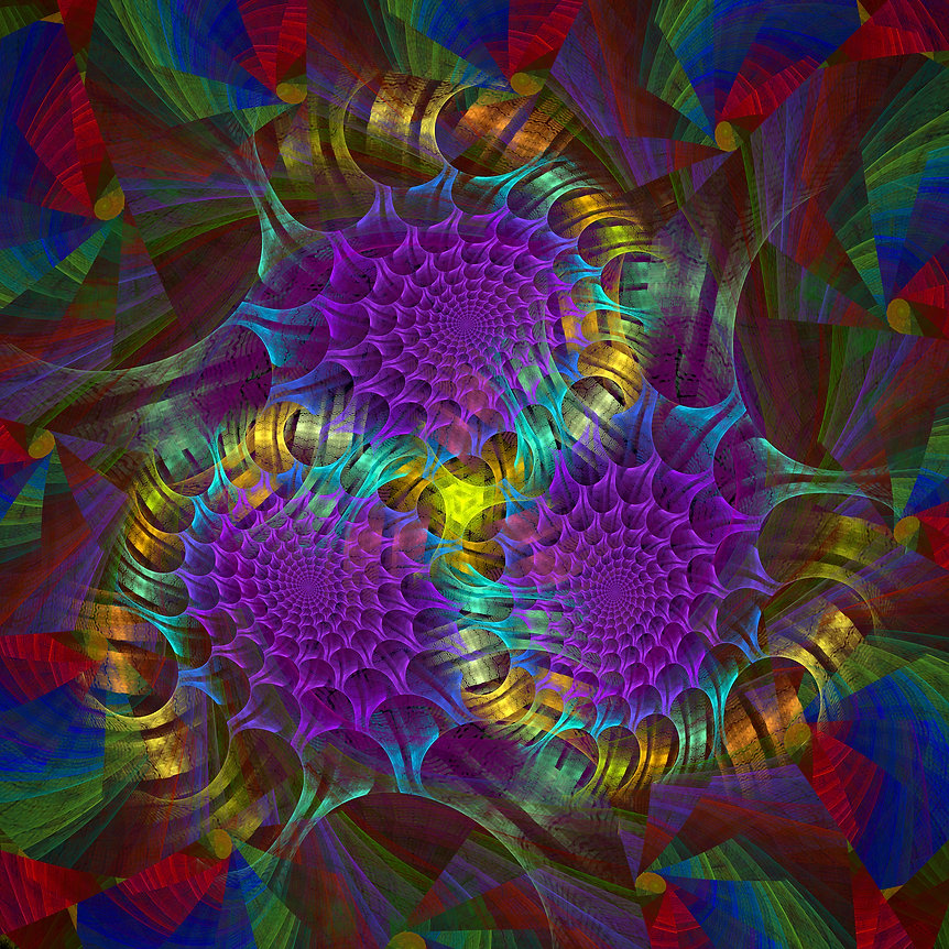 An image of three purple webs intertwined in the midst of this jewel toned fractal. Fractal Art by Jodi DiLiberto