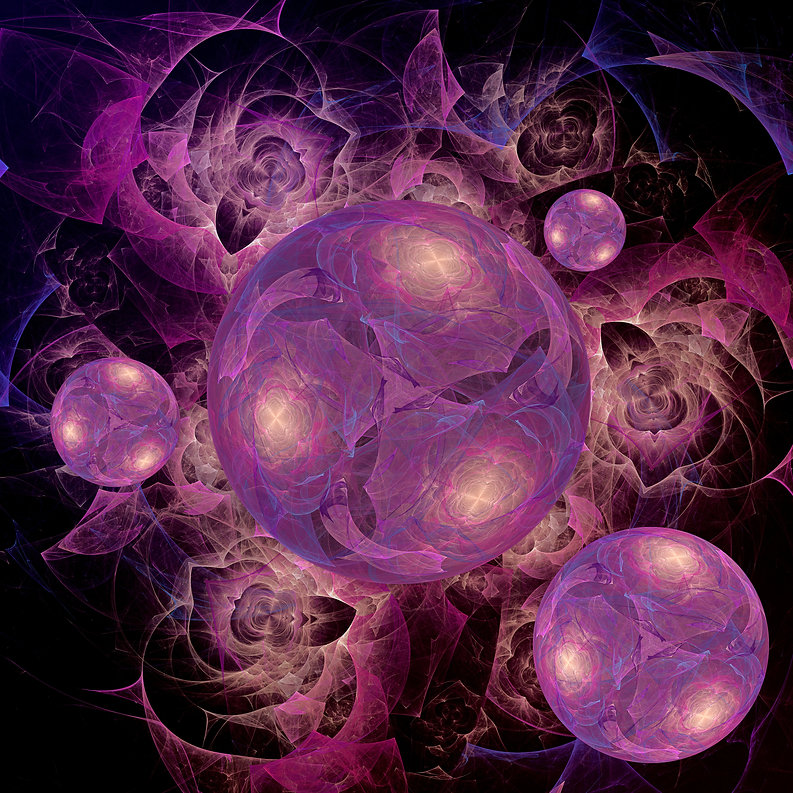 Fractal image of a pink and purple planet and its three moons rotating on a floral background. Fractal art by Jodi DiLiberto