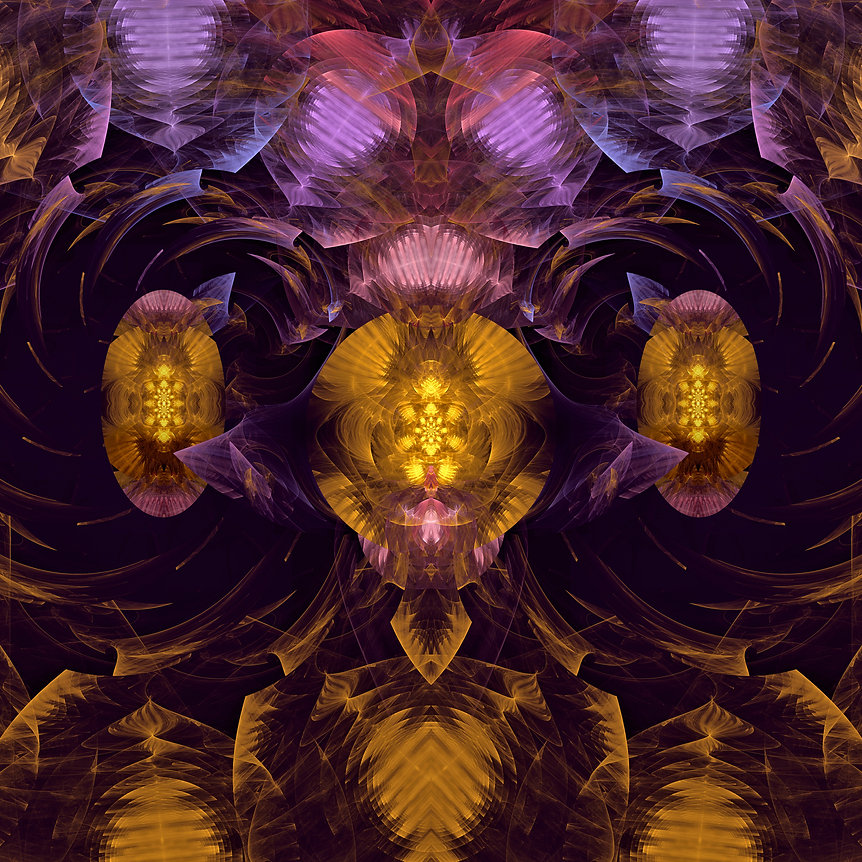 An abstract fractal image of two purple and gold diverging paths lit by oval medallions of gold. Fractal Art by Jodi DiLiberto.
