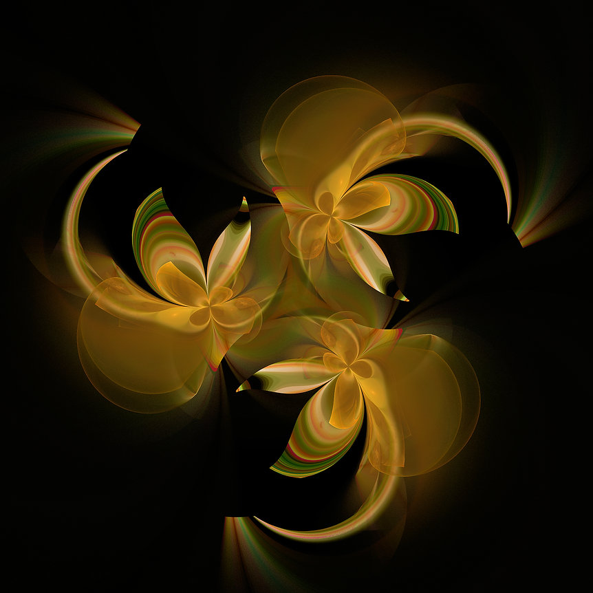 Fractal abstract image of green and gold Spirits dancing with abandon in a joyful Circle Dance. Fractal Art by Jodi DiLiberto.