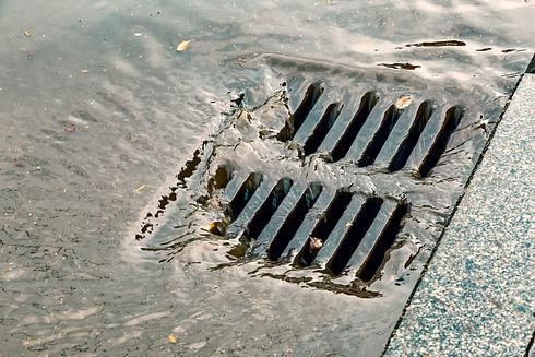 Stormwater street drain during heavy rai